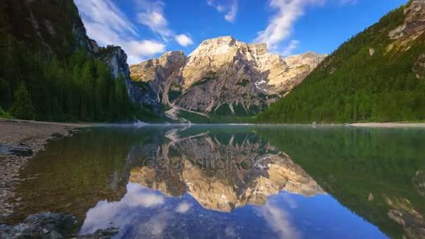 4K Motion time lapse of  Braies Lake at sunrise, Dolomites mountains, Sudtirol, Italy