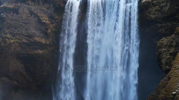 Skogafoss vodopád (Detailní záběr záběr), Skogar, Jižní Region, Island