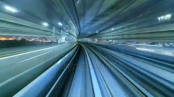4K Časový odstup automatického vlaku do tunelu, Tokio, Japonsko