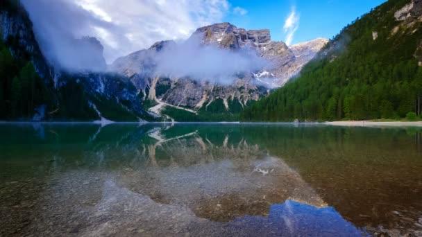 4K Time lapse of Braies Lake at sunrise, Dolomites mountains, Sudtirol, Italy