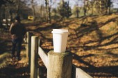 Fotografie blank paper cup with plastic cap in a autumn forest background.silhouette of a man hipster