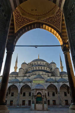 The entrance to the inner court of the Blue Mosque early in the morning. Sultanahmet, Istanbul.