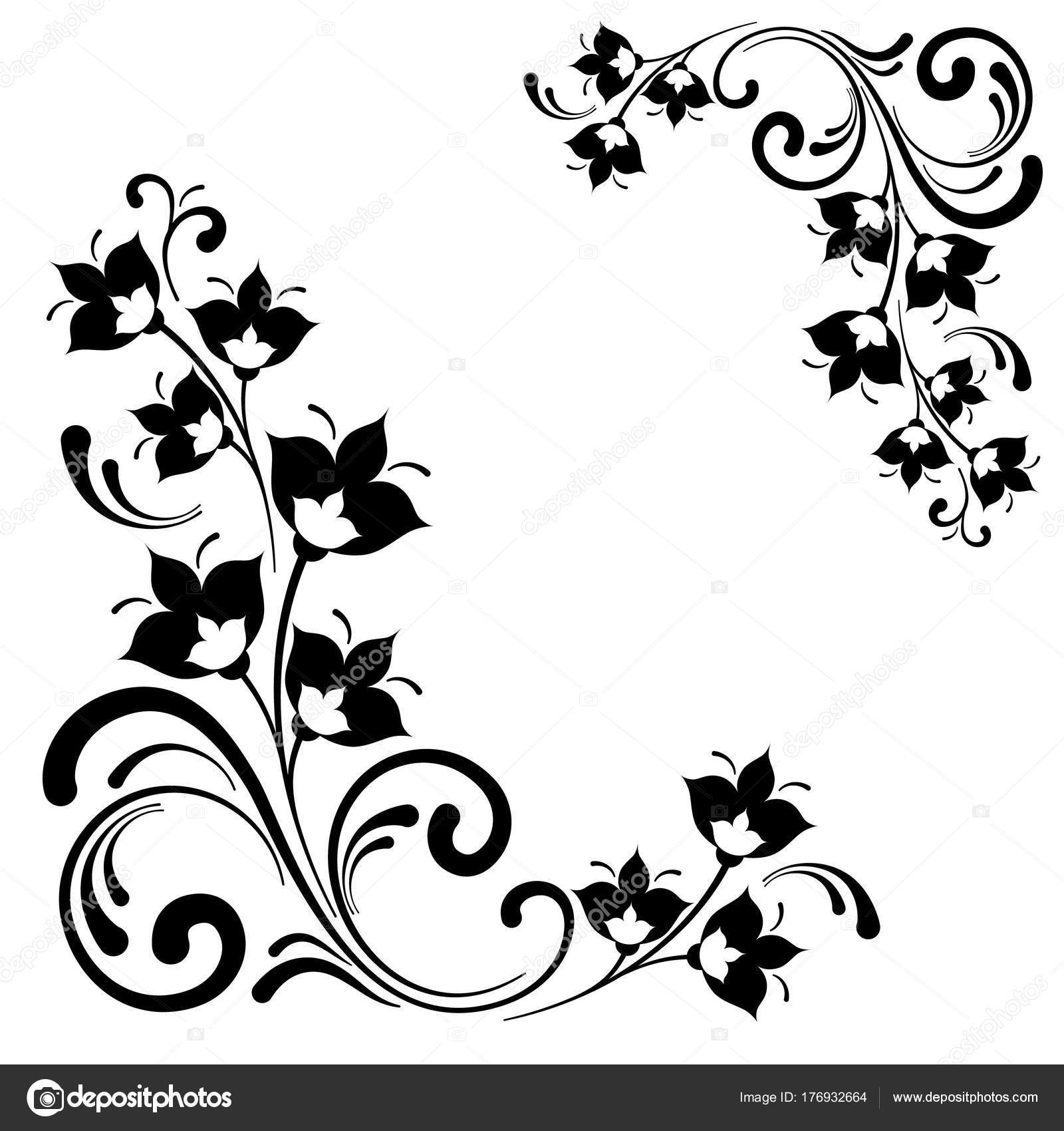 Black White Floral Pattern Vector Ornamental Decorative Flower