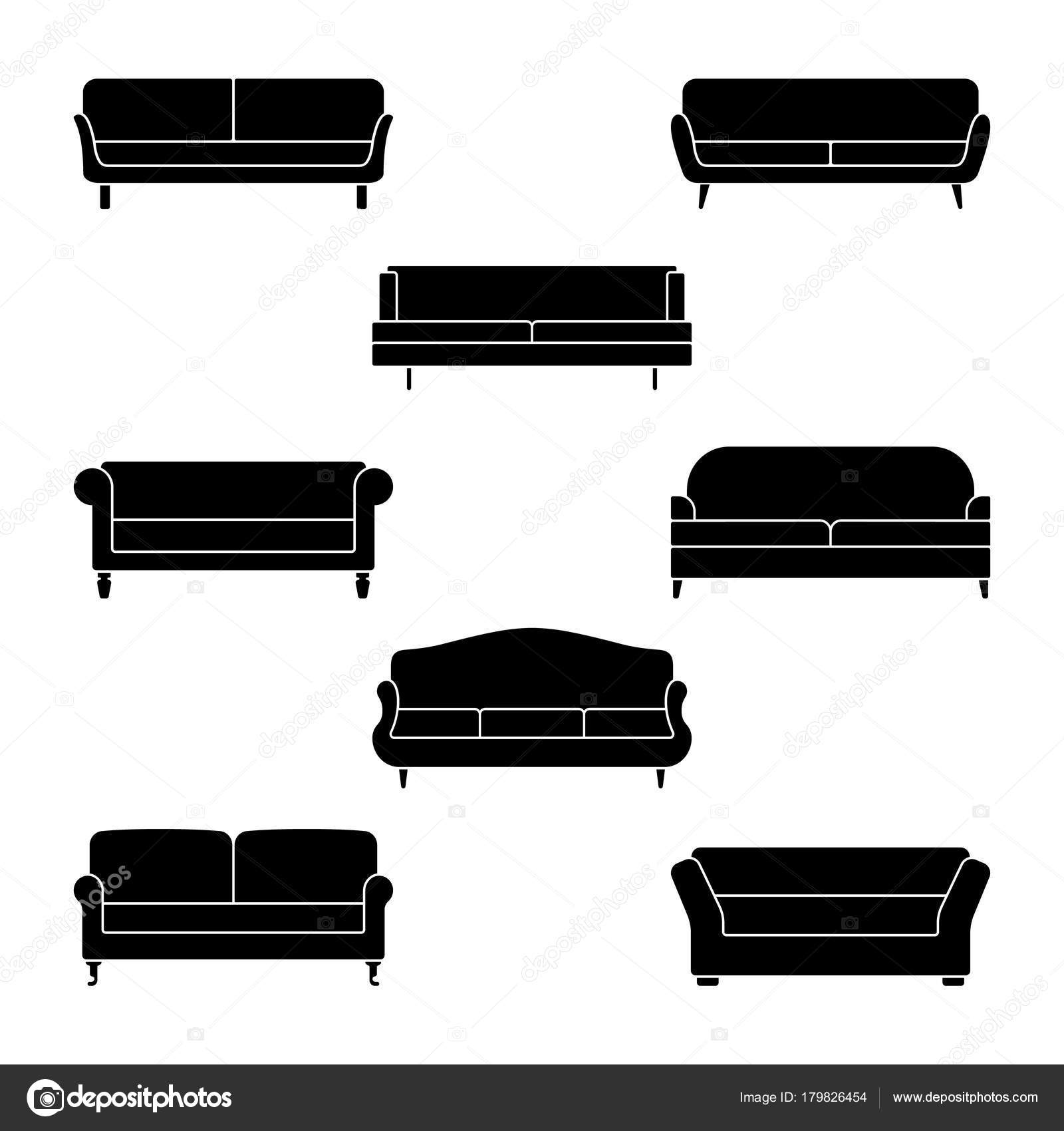 Sofa Icon Set Vector Illustration Couch Pictogram White Stock
