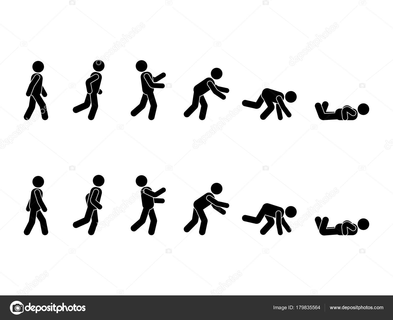 Marche Homme Stick Figure Pictogramme Ensemble Différentes ...
