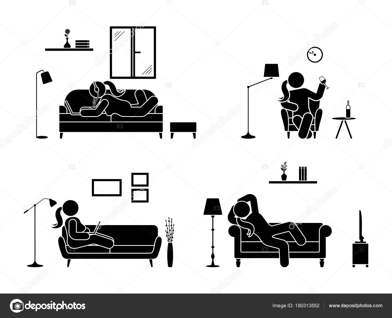 Stick Figure Resting Home Position Set Sitting Lying