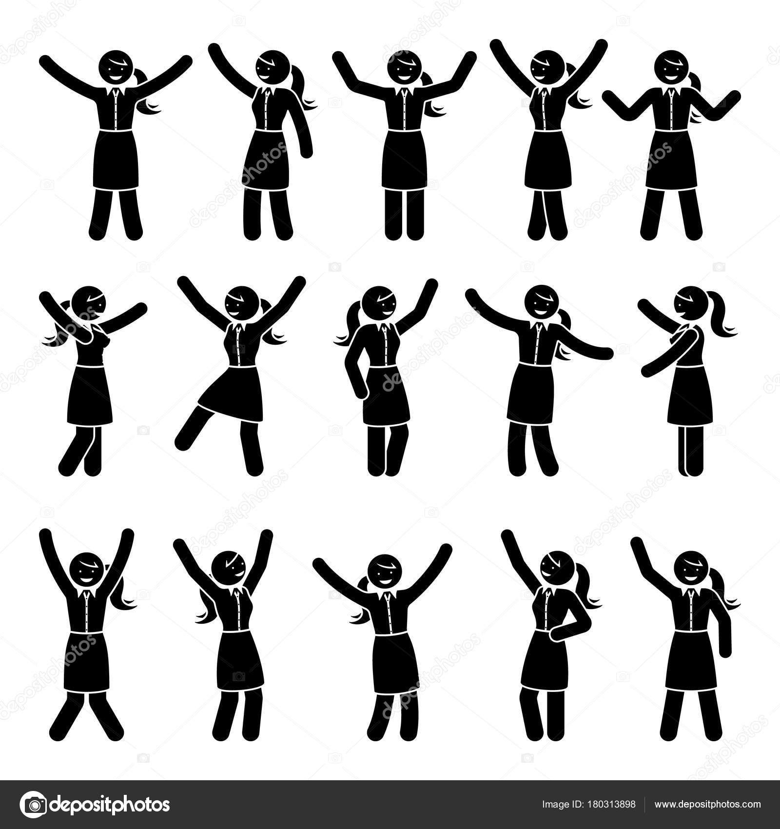 スティック図幸福 ハンズアップ 動き女性セット お祝いのベクトル