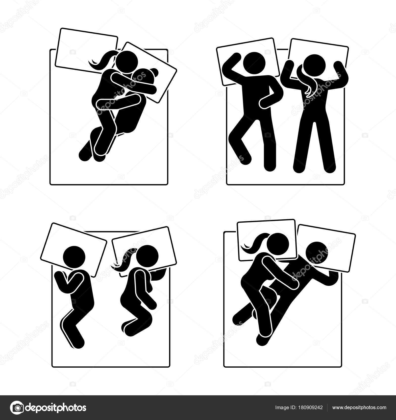 スティック図異なる睡眠の位置を設定します 別の夢を見てカップルの