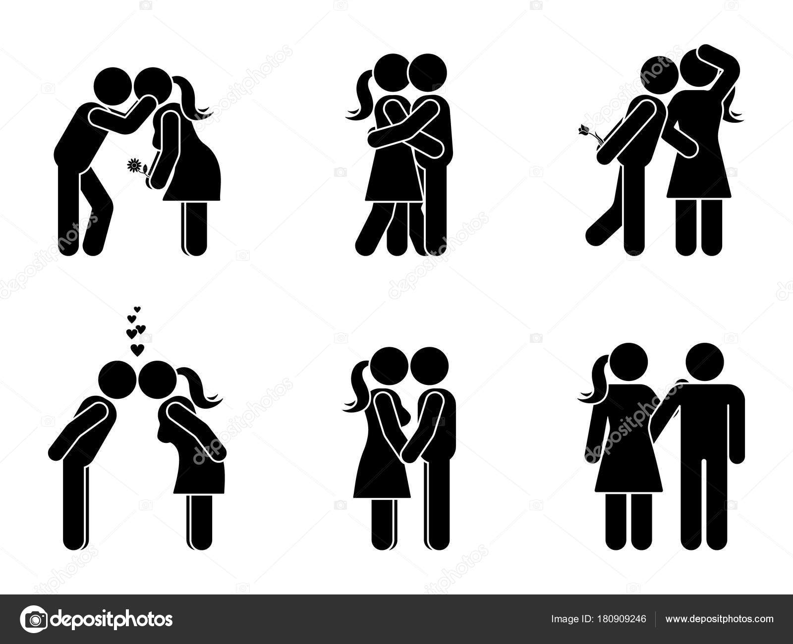 Stick figure kissing couple set man woman love vector illustration man and woman in love vector illustration on white boyfriend and girlfriend hugging cuddling and holding hand pictogram vector by cherstva biocorpaavc Gallery