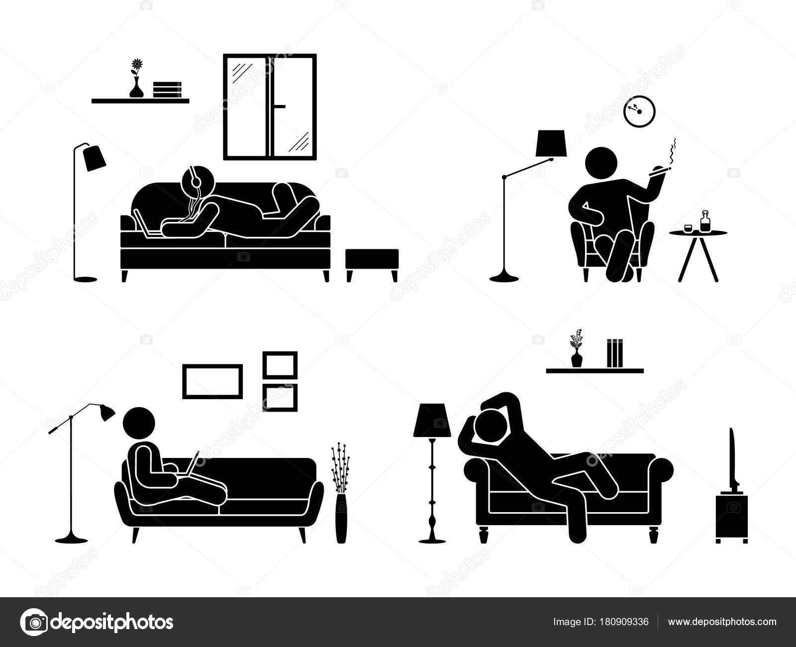 Stick Figure Resting Home Position Set Sitting Lying