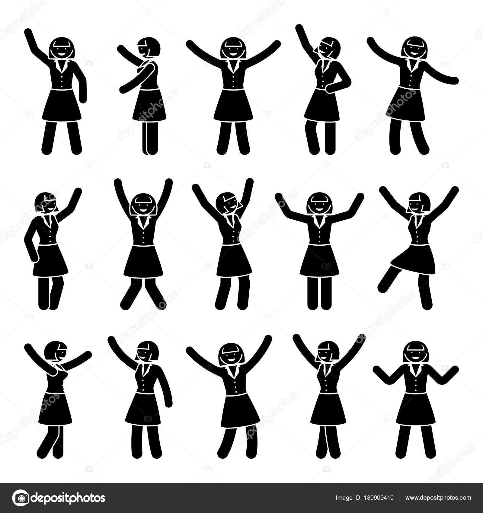 スティック図幸福 動き女性セット お祝いのベクトル イラスト ポーズ黒と
