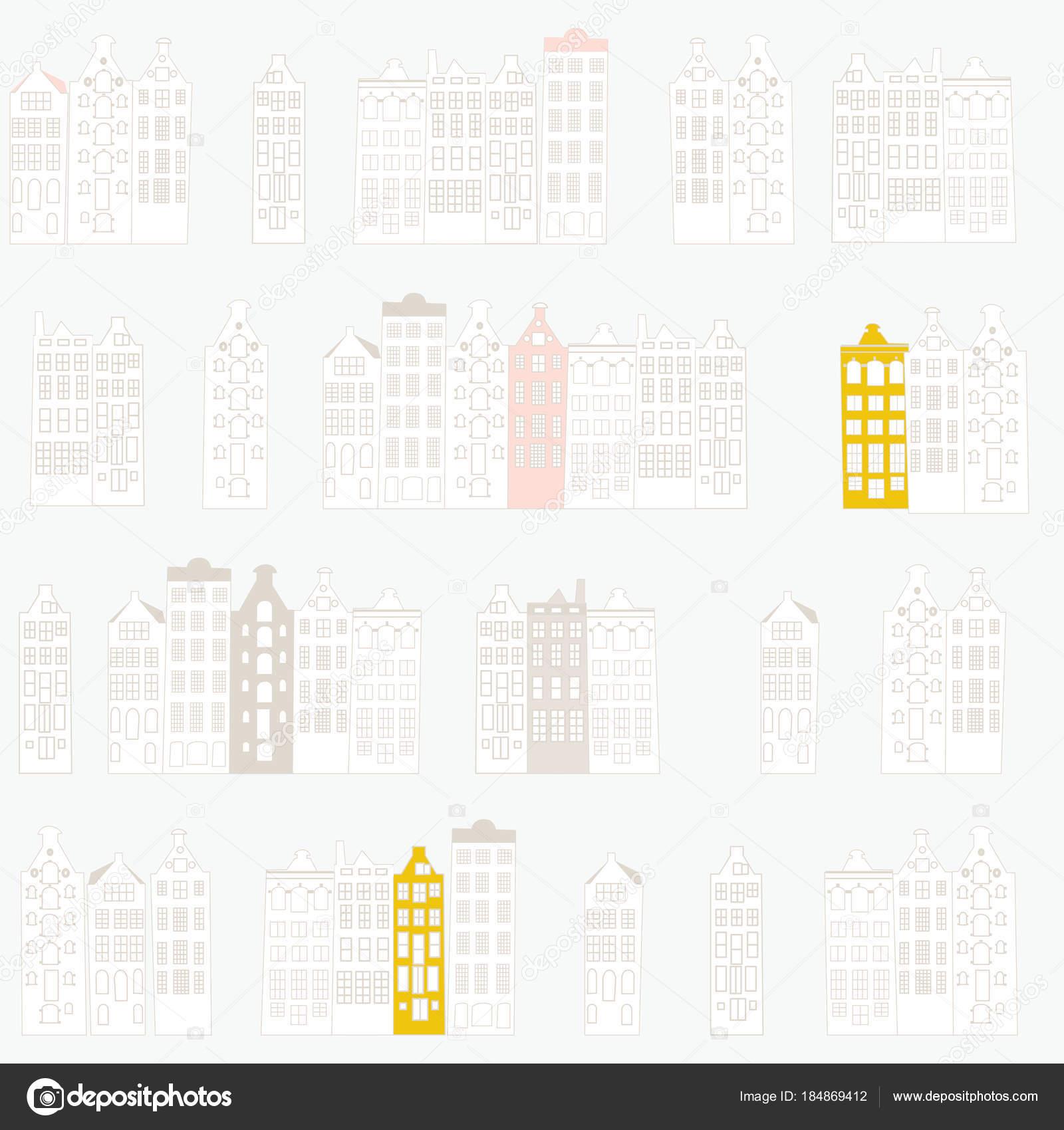 Vector Ilustración Diseño Patrones Sin Fisuras Con Filas Casas ...