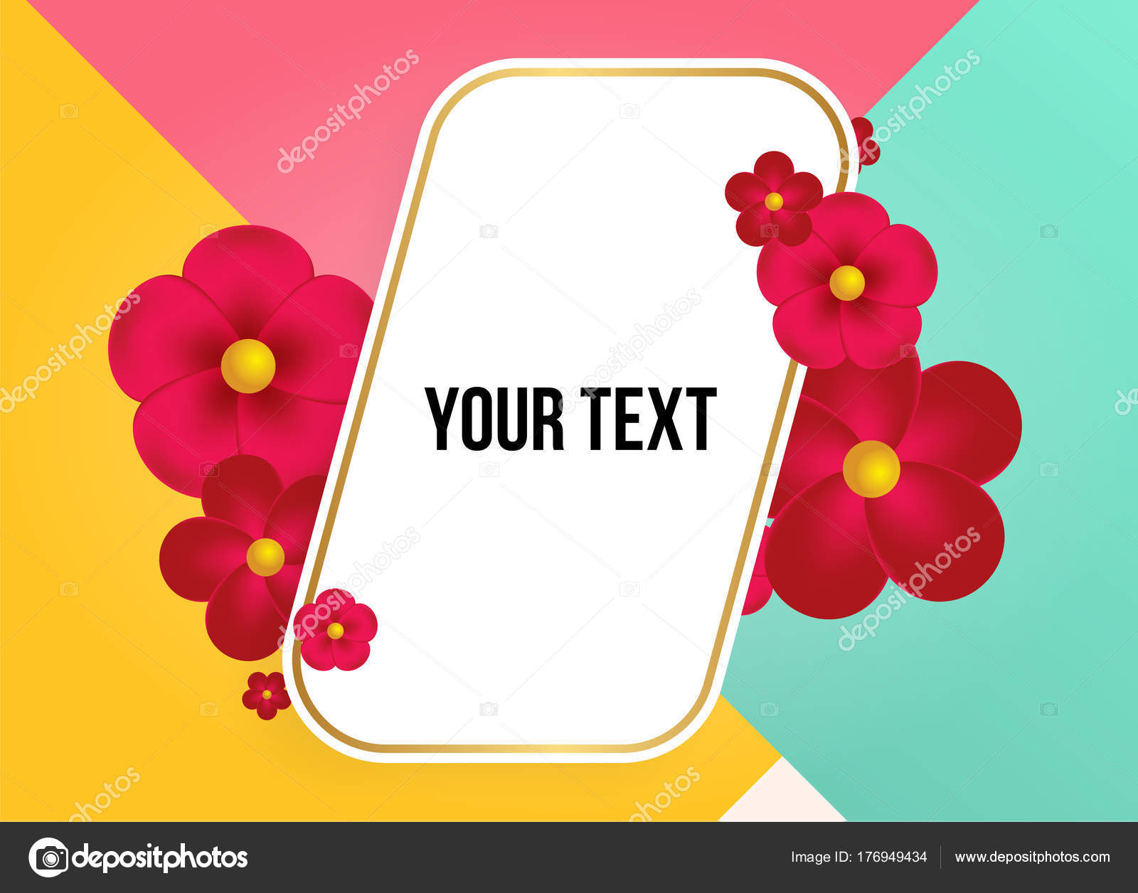 Maravilloso Fondo Con Hermosas Flores Colores Plantilla Ilustración ...