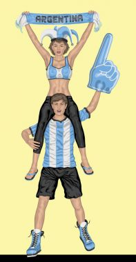 Argentinian Fans Supporting Argentina Team with Scarf and Foam F