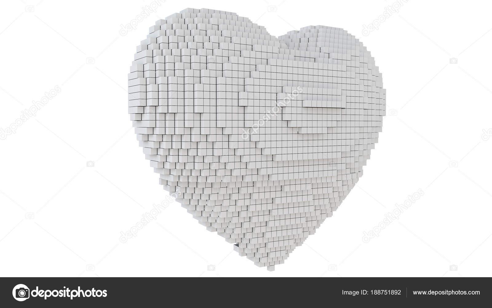 Una Ilustration Arte Pixel Cuore Con Sfondo Bianco Foto Stock