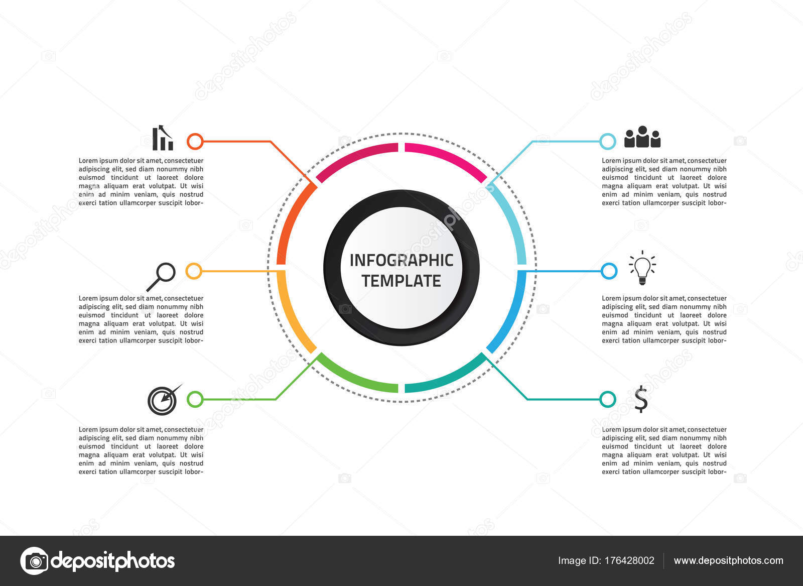 infographic template target market strategi stock vector