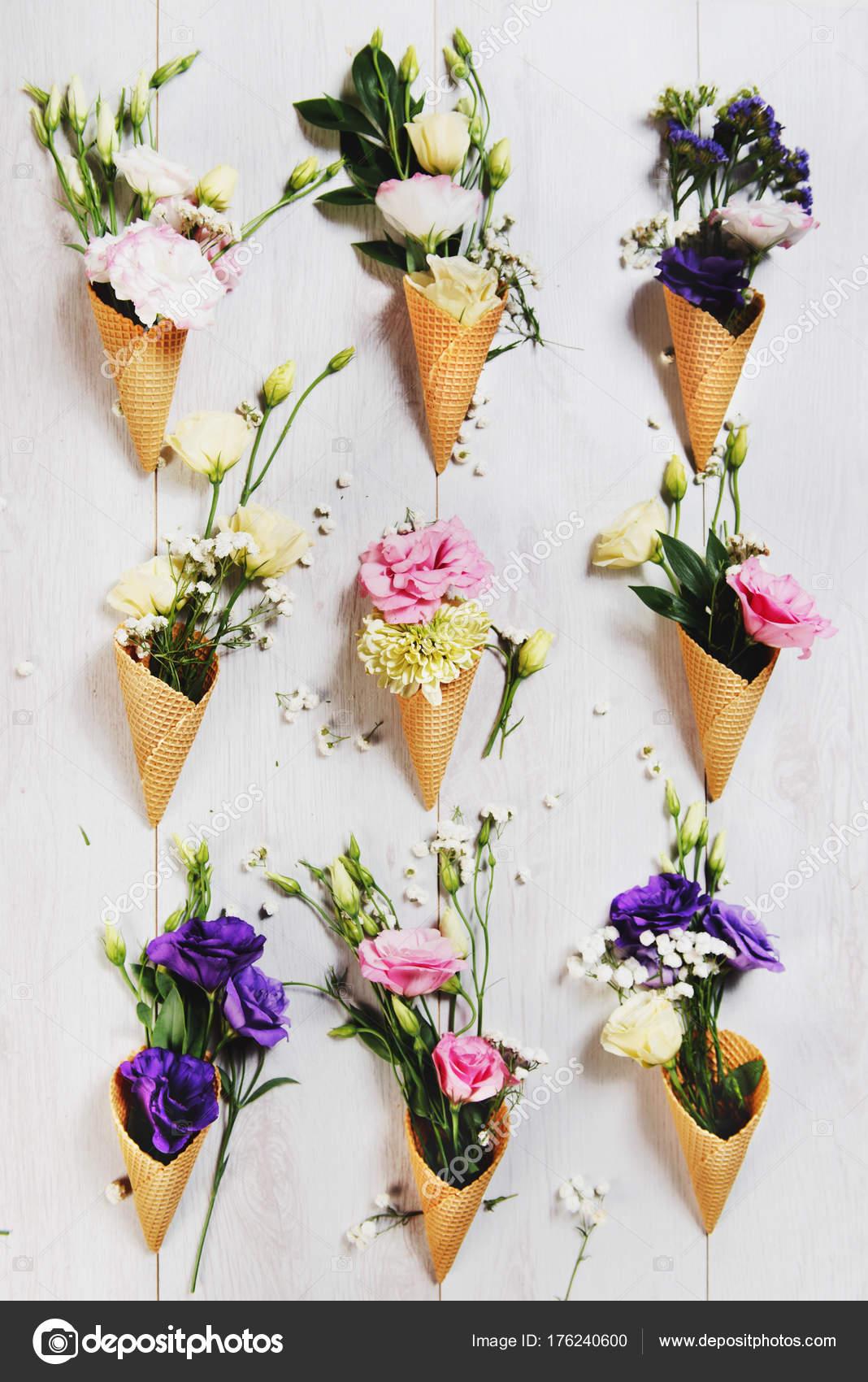 Lumineuses Fleurs Glace Creme Cones Photographie Tijanam C 176240600