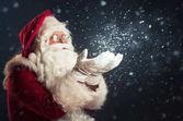 Santa Claus hófúvás szürke háttér