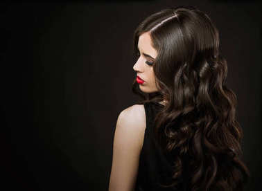 young beautiful woman, glamour portrait on dark background