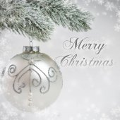 Silver-gray Christmas card with shiny bauble