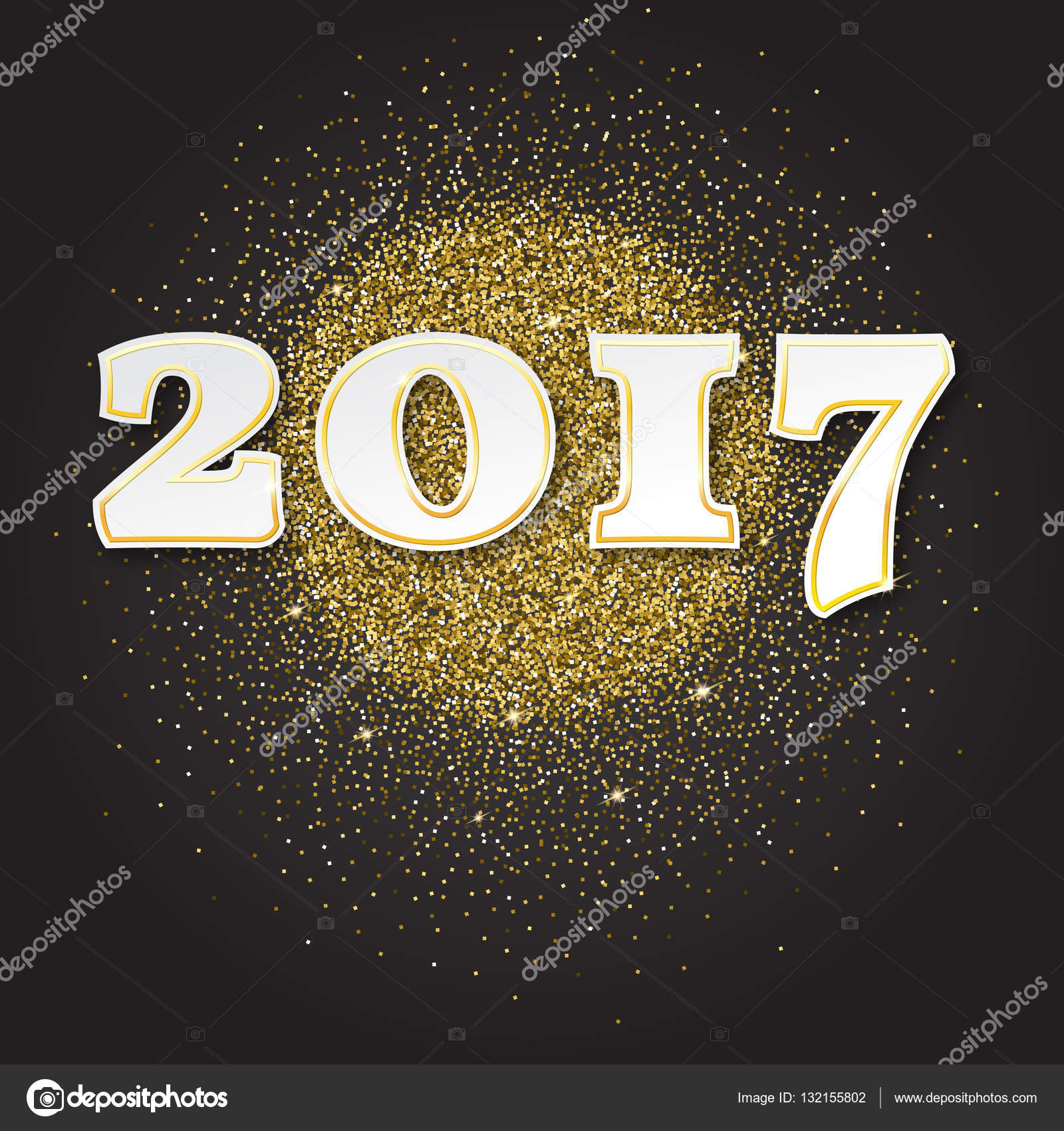 gold glitter happy new year 2017 background sparkles vector illustration template for your