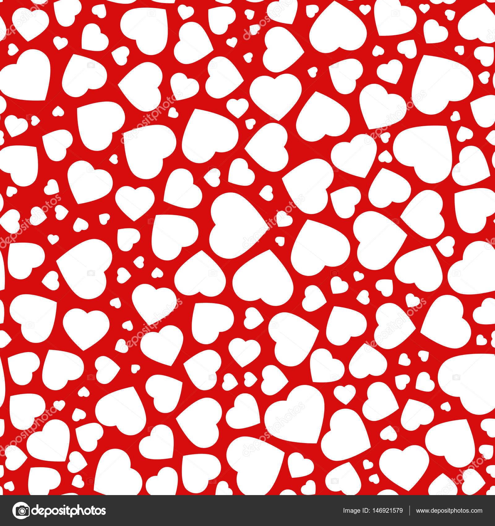 Herz, nahtlose Muster der Ikonen des Herzen in verschiedenen Größen ...