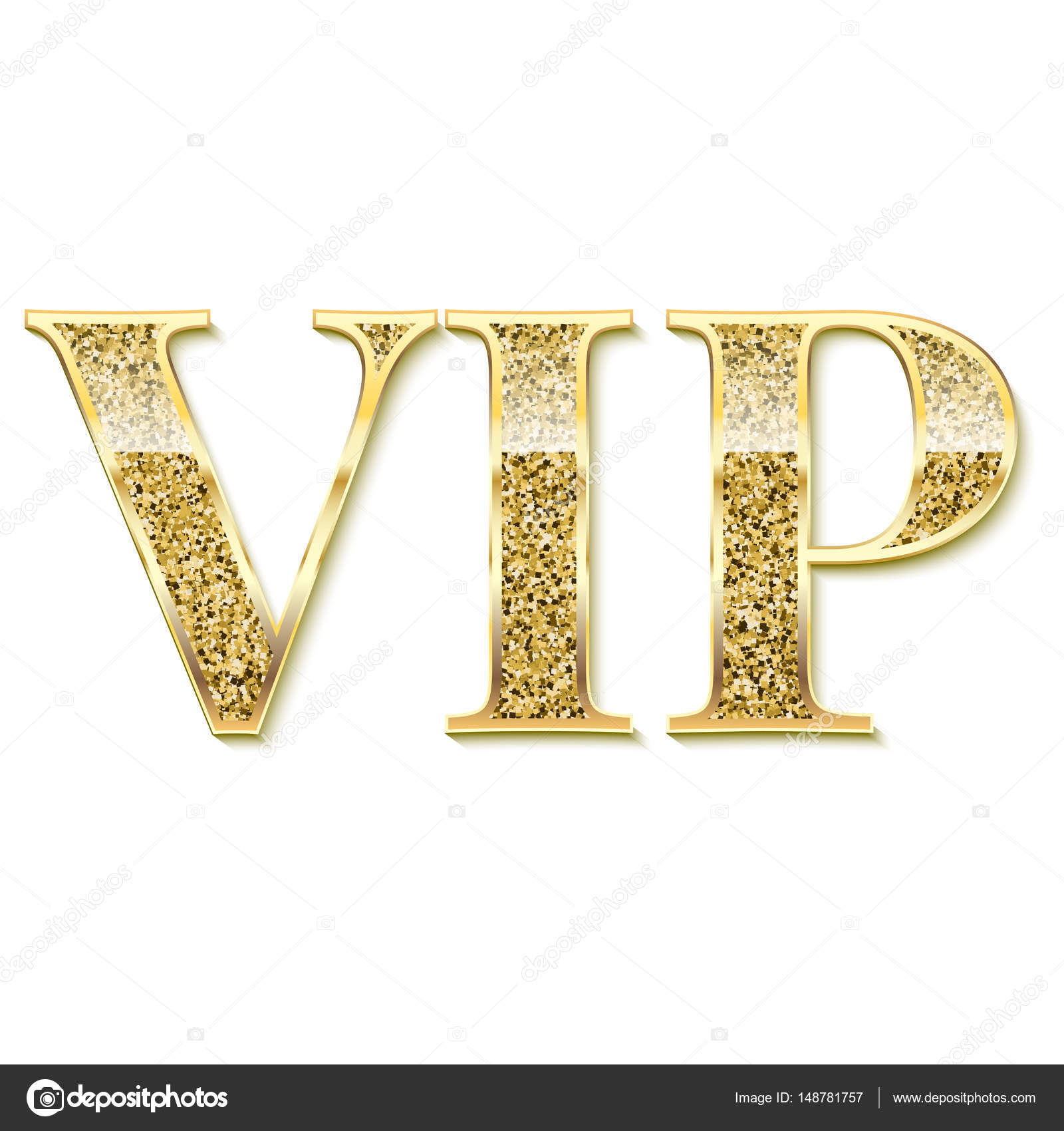 Golden Symbol Of Exclusivity The Label Vip With Glitter Stock