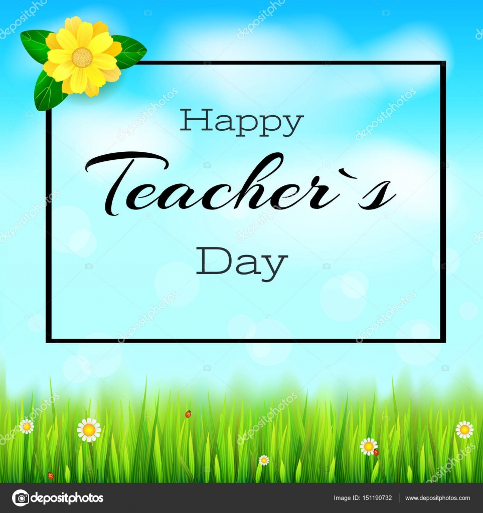 Happy teacher day realistic greeting banner for your happy teacher day realistic greeting banner for your congratulations cards on spring backdrop with flowers kristyandbryce Choice Image