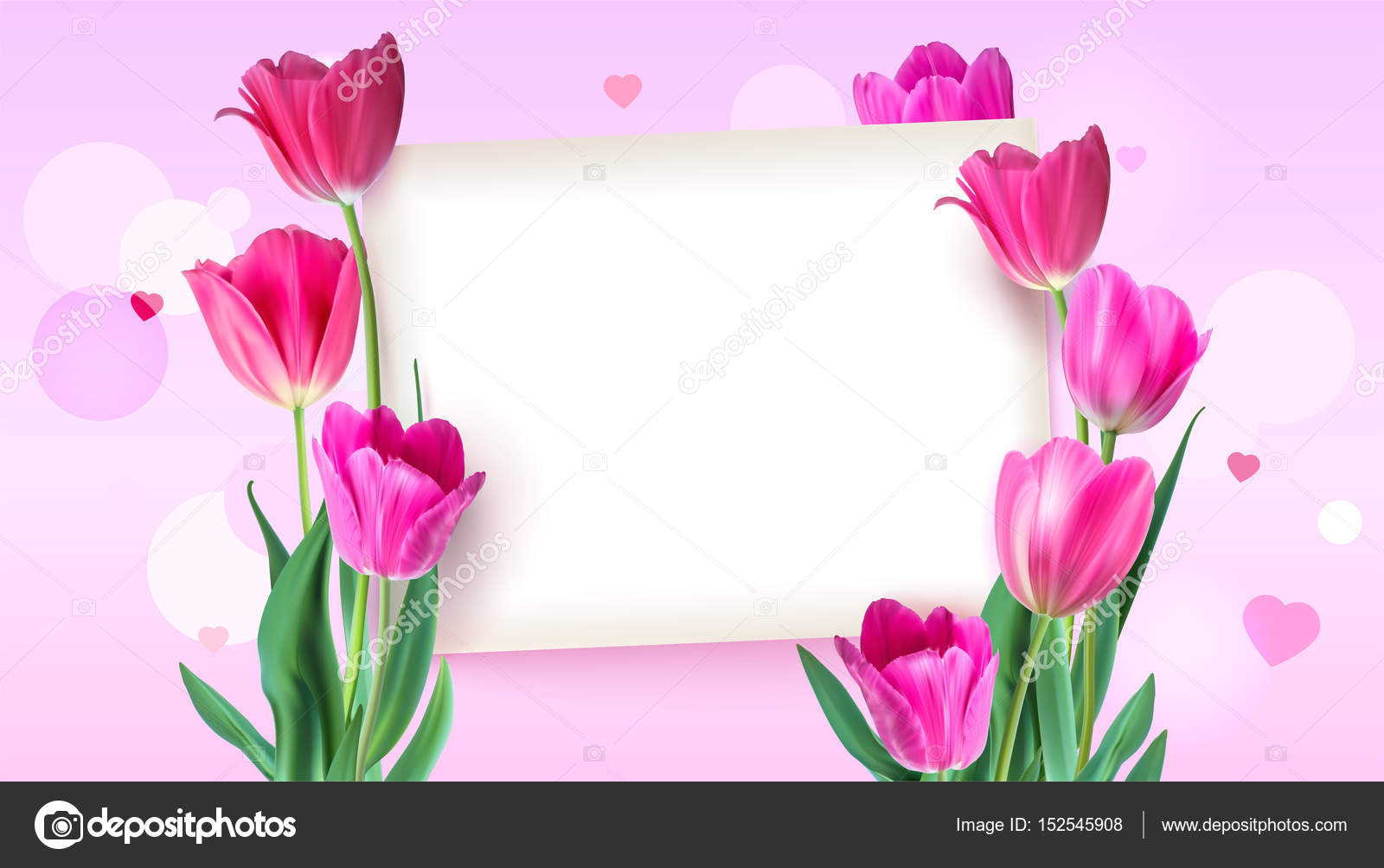 greeting card with tulips around the sheet of paper with text on