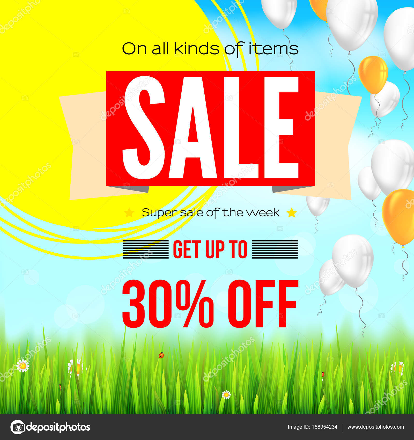 Summer Selling Ad Banner With An Inflatable Colored Balloons Thirty Percent Holiday Discounts Sale