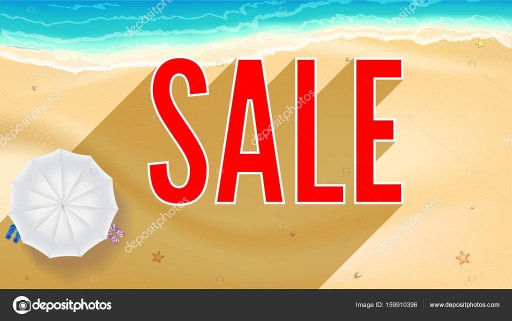 Nyári homokos strand a tengerparton. Eladási hirdetés banner. Nyári ... c77b31081d
