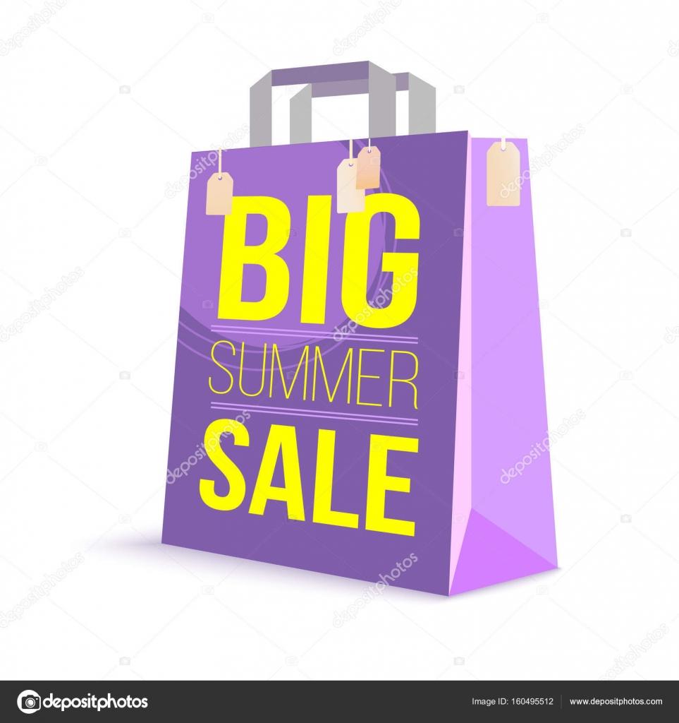 d77178dce Sacola de papel, com texto de anúncio de cor. Sol verão grande de venda e  imagens ...