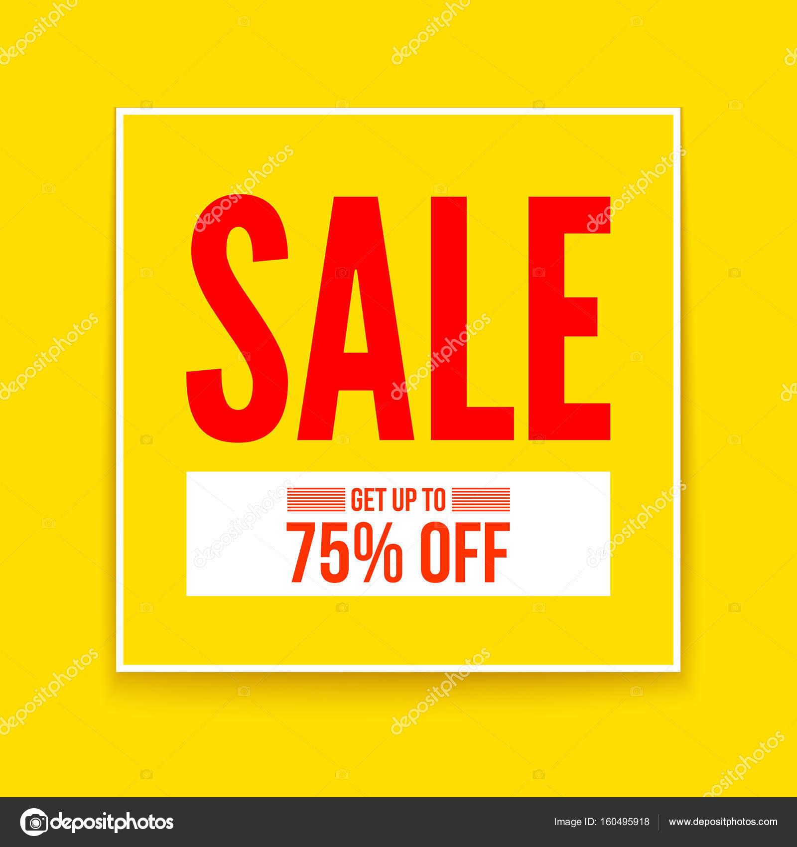 Cartel de venta, obtener hasta un setenta y cinco por ciento, diseño ...