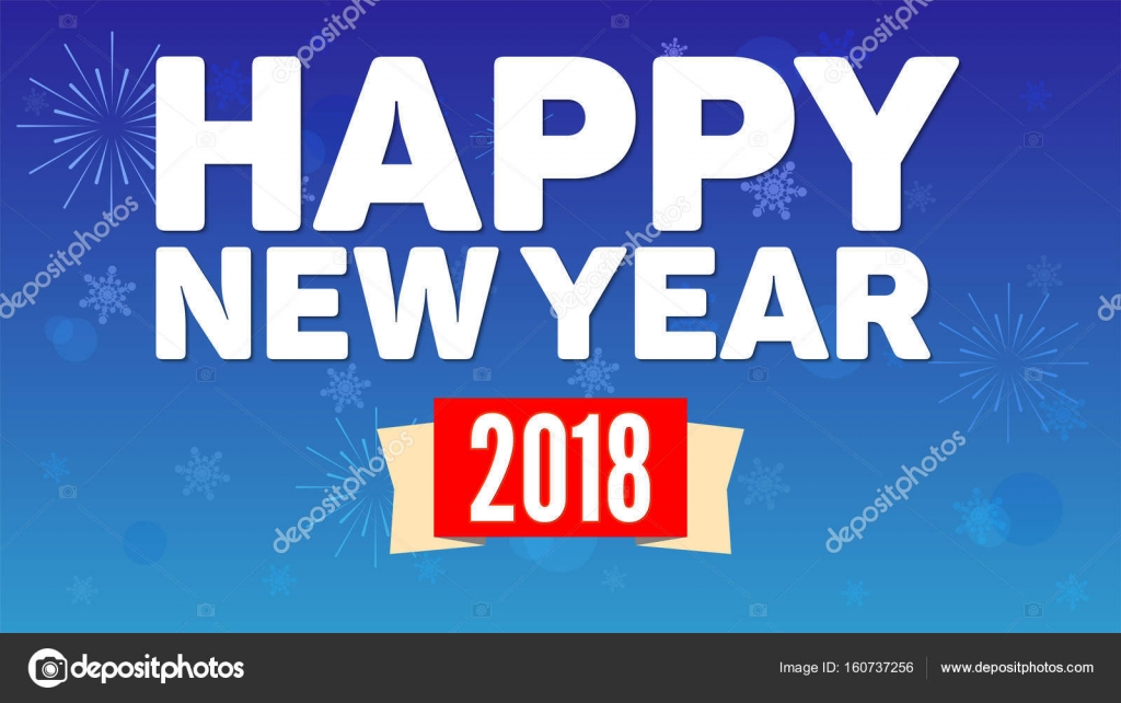 2018 happy new year greeting horizontal poster on night sky backdrop fireworks snowflakes on blue background paper design with small shadow