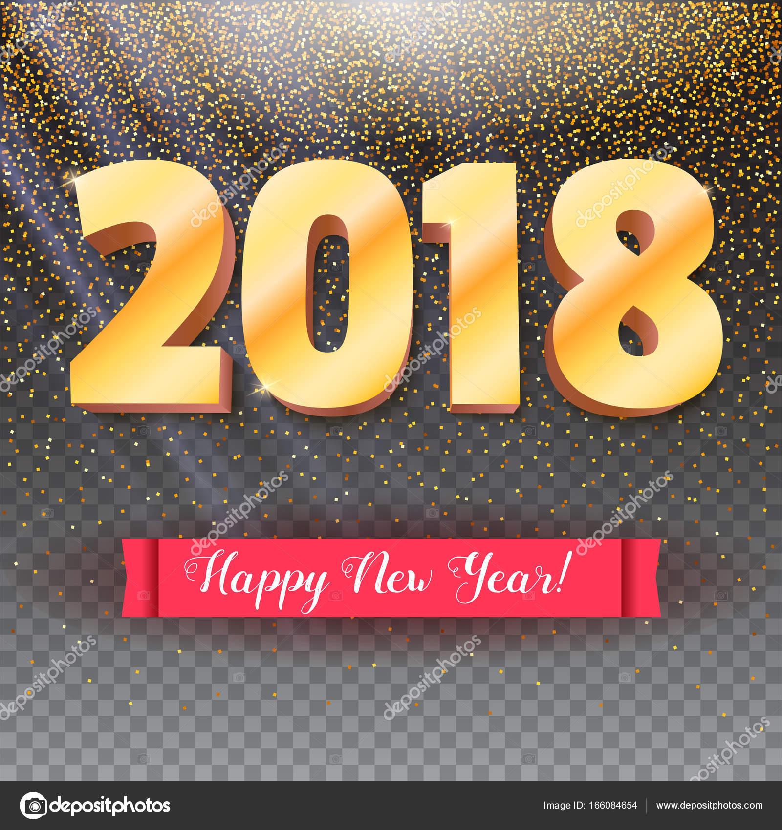 Volumetrische Zahlen aus Gold. Happy New Year 2018. Rote Banner mit ...