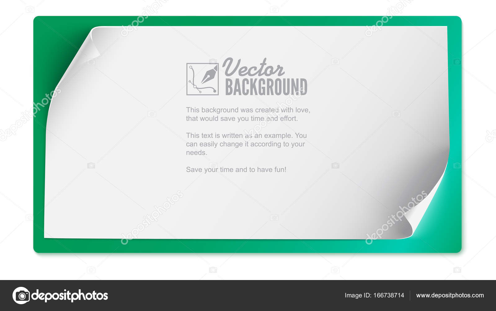 Vector Curved Paper Banner Isolated On Colored Background White Blank Horizontal Realistic Template With Curl Corners