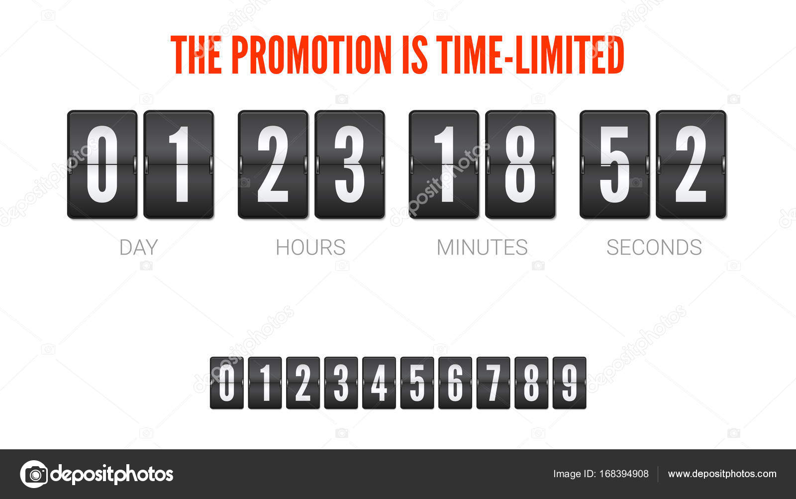 Template Of Flip Countdown Timer Clock Counter Time Is Limited