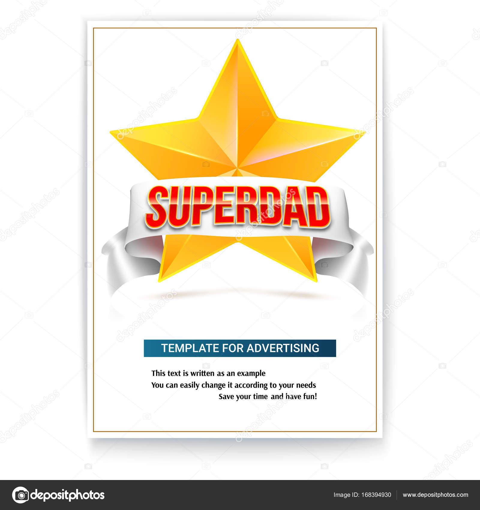 Plakat-Vorlage, s Vatertag zu feiern. Broschüre mit gelben Metall ...