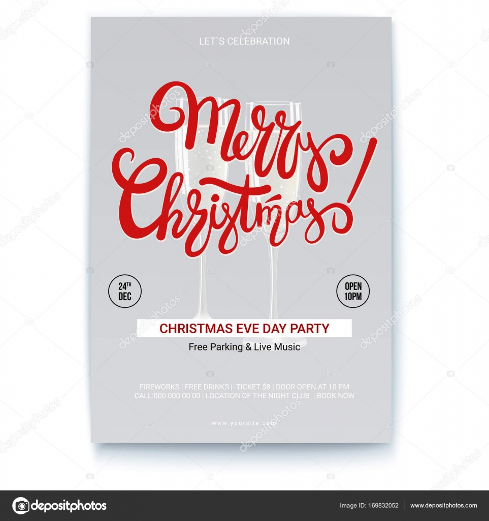 Merry Christmas Template Of Poster For Event With Place For Your