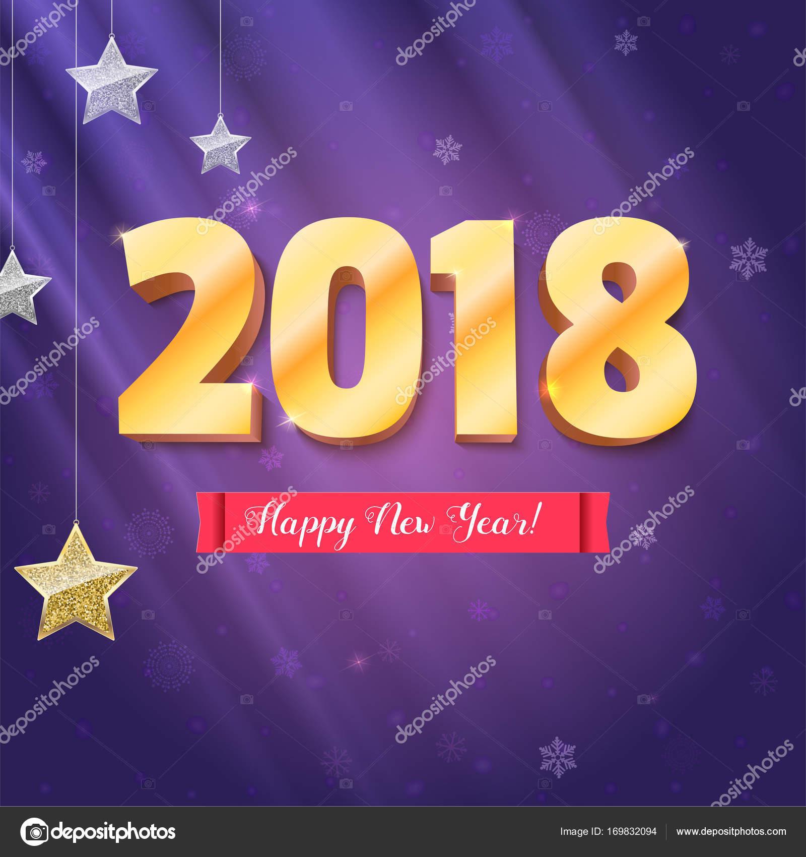 Feliz que año nuevo 2018 está llegando. Oro números y estrellas de ...