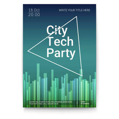 Vector template of poster, design layout for brochure, banner, flyer. Mock-up of City Techno Party event with text template, A4 size. Poster design with abstract pattern isolated on white background