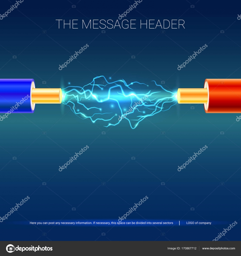 Electric Cable With Sparks Copper Electrical In Colored Insulation And Arc Between The Wires Background For Presentation Or Advertising