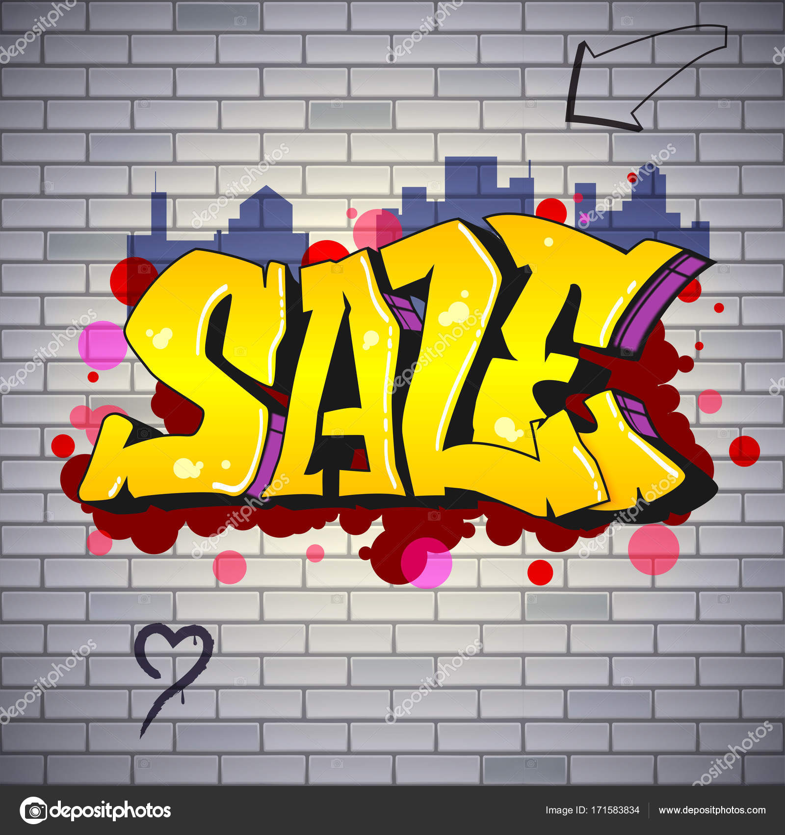 Sale, lettering in Hip-hop, graffiti style. Street art on the brick ...