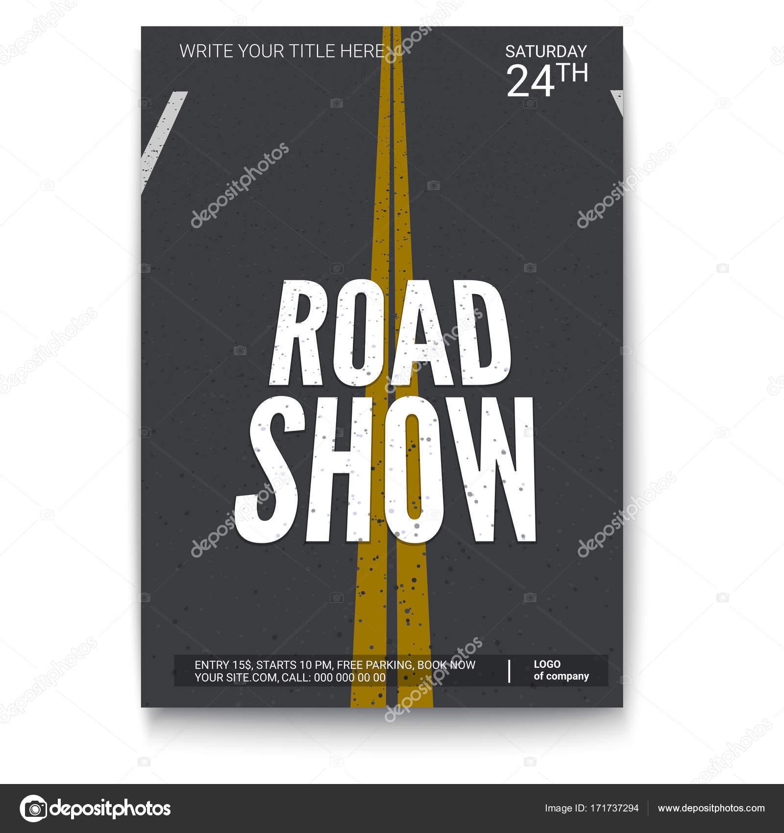 Diseño de cartel para fury road show, aislado en fondo blanco ...
