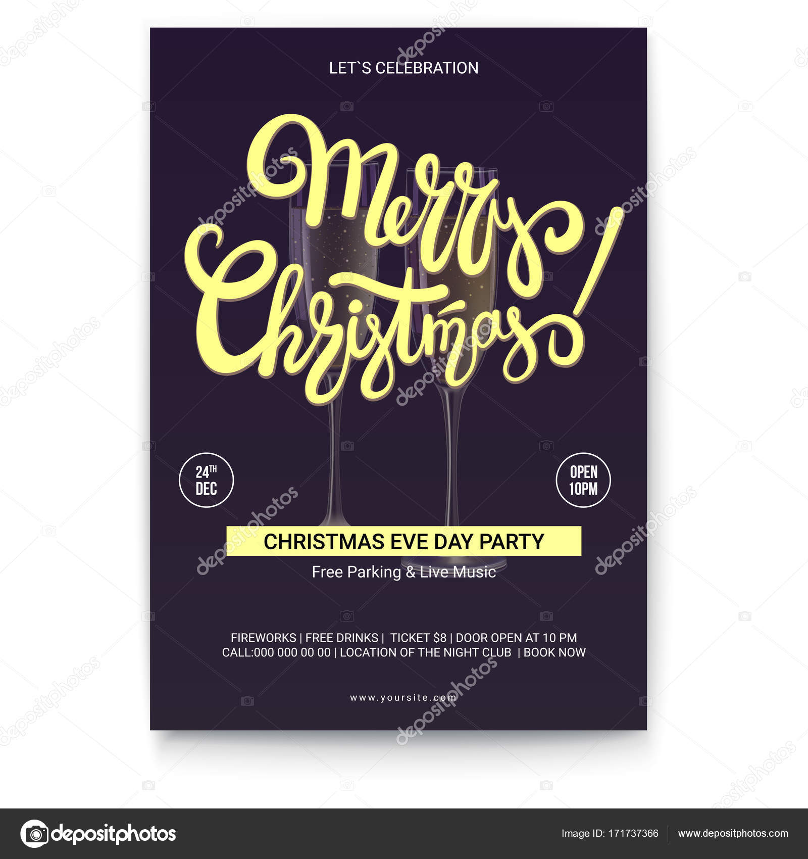 Merry christmas template of greetings poster with place for text merry christmas template of greetings poster with place for text handwritten lettering design on dark background mock up for creative arts print design kristyandbryce Choice Image