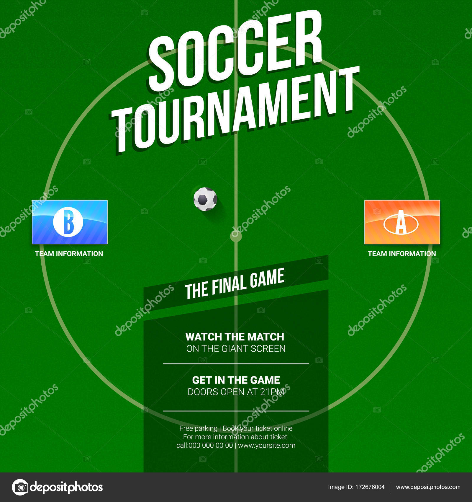 soccer football ad template for game tournament green soccer