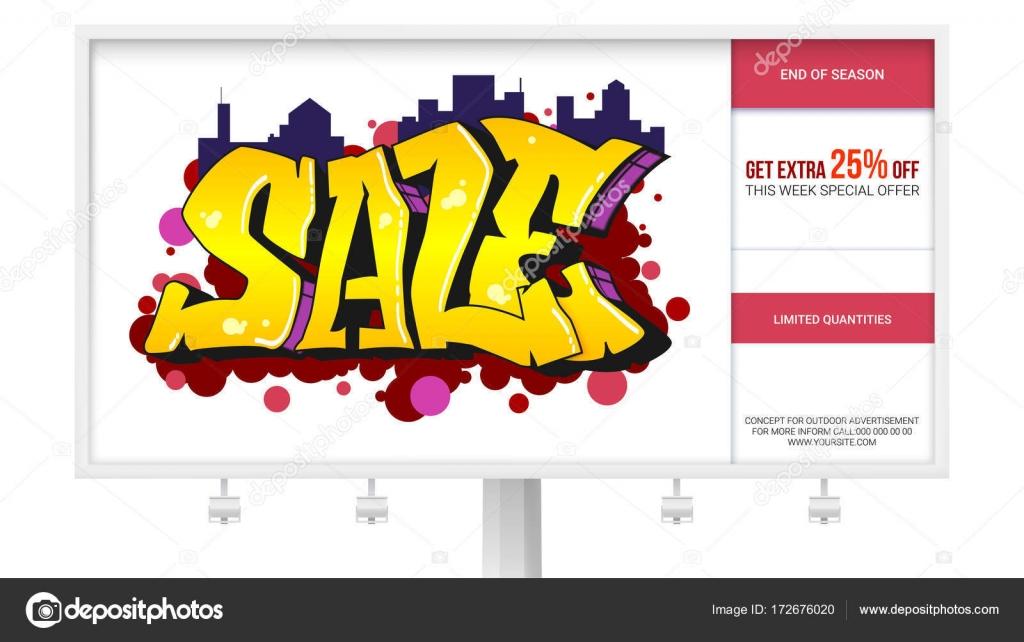 Sale, ad banner on the billboard. Graffiti style, urban art text ...