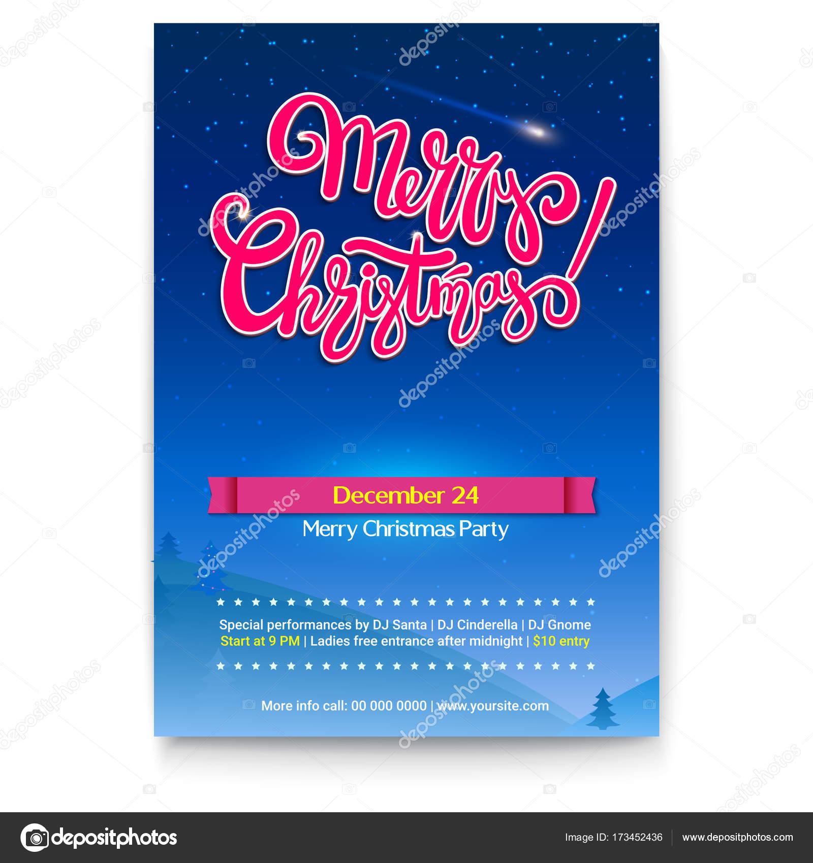 Frohe Weihnachten Partei Hintergrund mit Schriftzug. Winternacht und ...