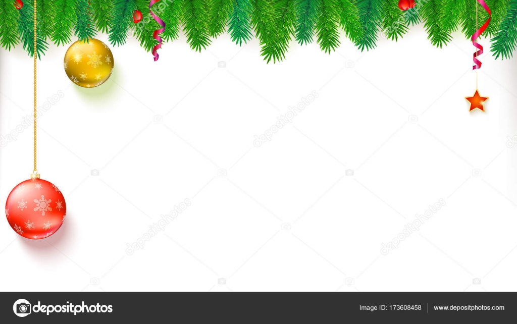 Christmas blank banner with garland of fir branches, red