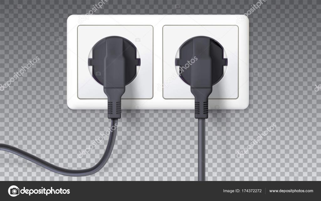 Elektrische Stecker und Buchse. Realistische schwarze Stecker in ...
